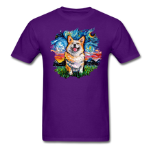 Load image into Gallery viewer, Smiling Corgi Night Splash Unisex Classic T-Shirt - purple