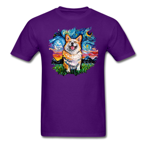 Smiling Corgi Night Splash Unisex Classic T-Shirt - purple