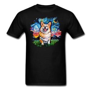 Smiling Corgi Night Splash Unisex Classic T-Shirt - black