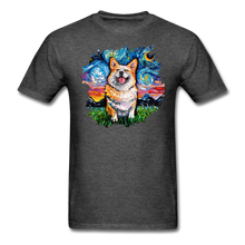 Load image into Gallery viewer, Smiling Corgi Night Splash Unisex Classic T-Shirt - heather black