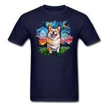 Load image into Gallery viewer, Smiling Corgi Night Splash Unisex Classic T-Shirt - navy