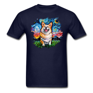 Smiling Corgi Night Splash Unisex Classic T-Shirt - navy