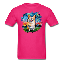 Load image into Gallery viewer, Smiling Corgi Night Splash Unisex Classic T-Shirt - fuchsia