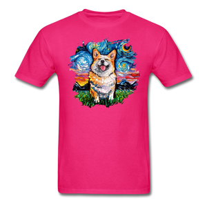 Smiling Corgi Night Splash Unisex Classic T-Shirt - fuchsia