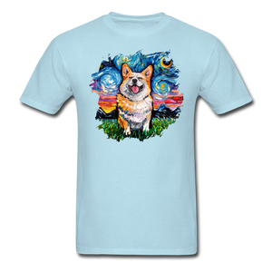 Smiling Corgi Night Splash Unisex Classic T-Shirt - powder blue