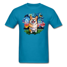 Load image into Gallery viewer, Smiling Corgi Night Splash Unisex Classic T-Shirt - turquoise