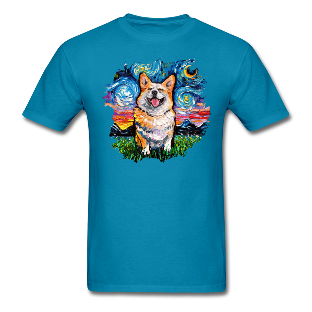 Smiling Corgi Night Splash Unisex Classic T-Shirt - turquoise