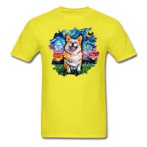 Smiling Corgi Night Splash Unisex Classic T-Shirt - yellow