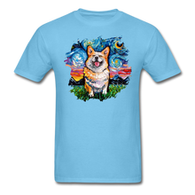 Load image into Gallery viewer, Smiling Corgi Night Splash Unisex Classic T-Shirt - aquatic blue