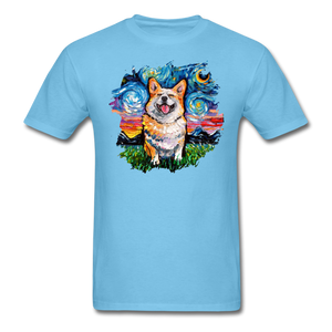 Smiling Corgi Night Splash Unisex Classic T-Shirt - aquatic blue