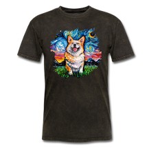 Load image into Gallery viewer, Smiling Corgi Night Splash Unisex Classic T-Shirt - mineral black