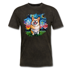 Smiling Corgi Night Splash Unisex Classic T-Shirt - mineral black