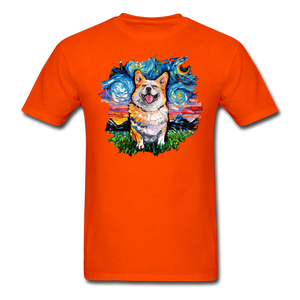 Smiling Corgi Night Splash Unisex Classic T-Shirt - orange