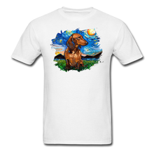 Load image into Gallery viewer, Brown Short Hair Dachshund Night Splash Unisex Classic T-Shirt - white