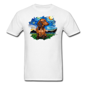 Brown Short Hair Dachshund Night Splash Unisex Classic T-Shirt - white