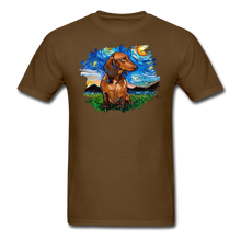 Load image into Gallery viewer, Brown Short Hair Dachshund Night Splash Unisex Classic T-Shirt - brown