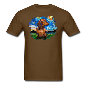 Brown Short Hair Dachshund Night Splash Unisex Classic T-Shirt - brown