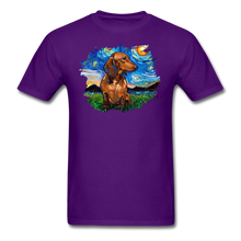 Load image into Gallery viewer, Brown Short Hair Dachshund Night Splash Unisex Classic T-Shirt - purple