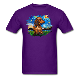 Brown Short Hair Dachshund Night Splash Unisex Classic T-Shirt - purple