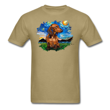Load image into Gallery viewer, Brown Short Hair Dachshund Night Splash Unisex Classic T-Shirt - khaki
