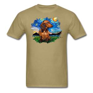 Brown Short Hair Dachshund Night Splash Unisex Classic T-Shirt - khaki