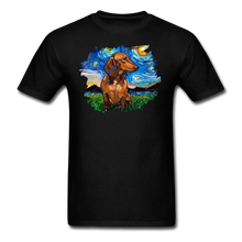 Load image into Gallery viewer, Brown Short Hair Dachshund Night Splash Unisex Classic T-Shirt - black