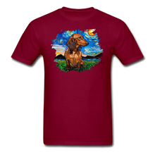 Load image into Gallery viewer, Brown Short Hair Dachshund Night Splash Unisex Classic T-Shirt - burgundy
