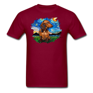 Brown Short Hair Dachshund Night Splash Unisex Classic T-Shirt - burgundy