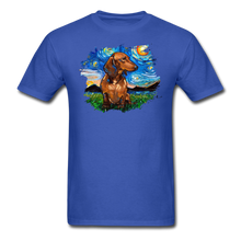 Load image into Gallery viewer, Brown Short Hair Dachshund Night Splash Unisex Classic T-Shirt - royal blue
