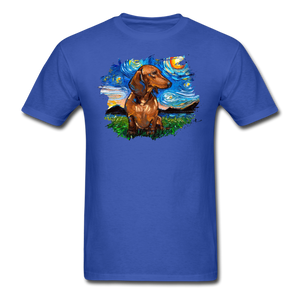 Brown Short Hair Dachshund Night Splash Unisex Classic T-Shirt - royal blue
