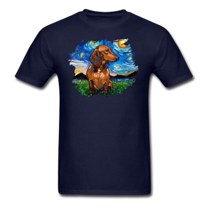 Brown Short Hair Dachshund Night Splash Unisex Classic T-Shirt - navy