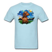 Load image into Gallery viewer, Brown Short Hair Dachshund Night Splash Unisex Classic T-Shirt - powder blue
