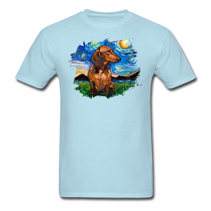 Brown Short Hair Dachshund Night Splash Unisex Classic T-Shirt - powder blue