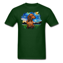 Load image into Gallery viewer, Brown Short Hair Dachshund Night Splash Unisex Classic T-Shirt - forest green