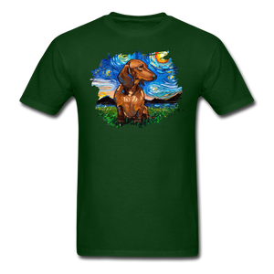 Brown Short Hair Dachshund Night Splash Unisex Classic T-Shirt - forest green