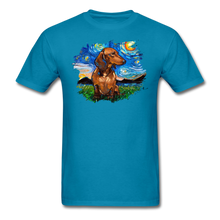 Load image into Gallery viewer, Brown Short Hair Dachshund Night Splash Unisex Classic T-Shirt - turquoise