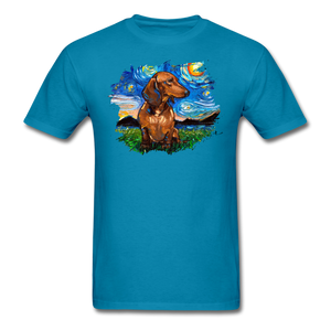 Brown Short Hair Dachshund Night Splash Unisex Classic T-Shirt - turquoise