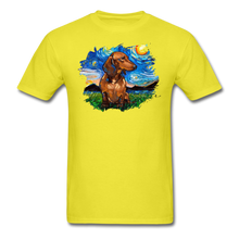 Load image into Gallery viewer, Brown Short Hair Dachshund Night Splash Unisex Classic T-Shirt - yellow