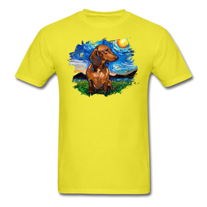 Brown Short Hair Dachshund Night Splash Unisex Classic T-Shirt - yellow