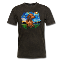 Load image into Gallery viewer, Brown Short Hair Dachshund Night Splash Unisex Classic T-Shirt - mineral black