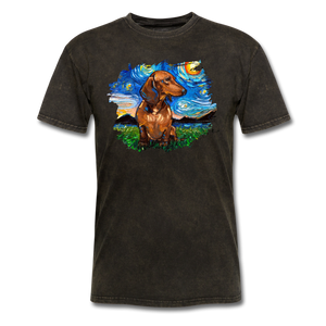Brown Short Hair Dachshund Night Splash Unisex Classic T-Shirt - mineral black