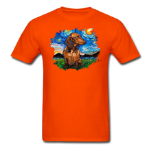 Load image into Gallery viewer, Brown Short Hair Dachshund Night Splash Unisex Classic T-Shirt - orange