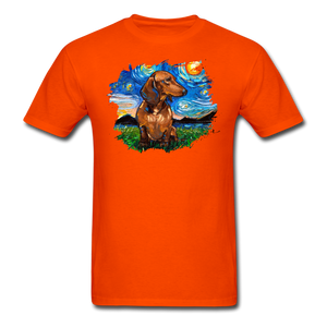 Brown Short Hair Dachshund Night Splash Unisex Classic T-Shirt - orange