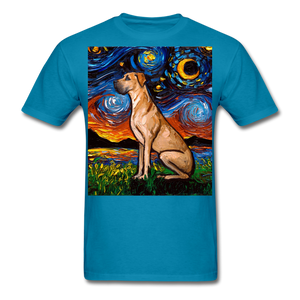Fawn Great Dane Night Unisex Classic T-Shirt - turquoise
