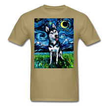 Load image into Gallery viewer, Happy Husky Night Unisex Classic T-Shirt - khaki