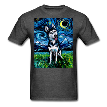 Load image into Gallery viewer, Happy Husky Night Unisex Classic T-Shirt - heather black