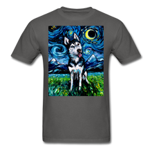 Load image into Gallery viewer, Happy Husky Night Unisex Classic T-Shirt - charcoal