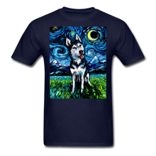 Load image into Gallery viewer, Happy Husky Night Unisex Classic T-Shirt - navy
