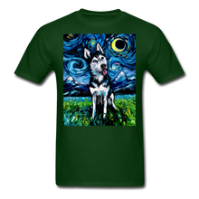 Load image into Gallery viewer, Happy Husky Night Unisex Classic T-Shirt - forest green
