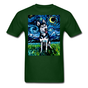 Happy Husky Night Unisex Classic T-Shirt - forest green